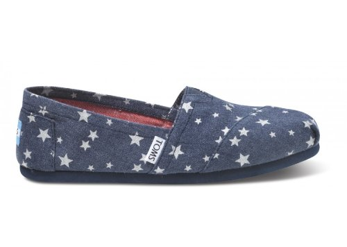 TOMS Women's Canvas Slip-on blue star shoes