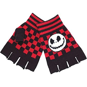 The Nightmare Before Christmas style Gloves Fingerless Mitts Jack Skellington Black Red Cheque One Size