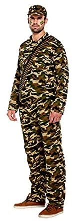 ADULTS MENS ARMY MAN COSTUME CAMOUFLAGE SOLDIER FANCY DRESS OUTFIT (SMALL)