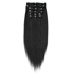 """18"""" 7pcs Jet Black_01 Remy Clips In Human Hair Extensions 100g Attached Full Head"""