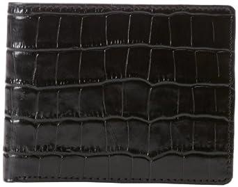 Joseph Abboud Men's Croc-Embossed Passcase Wallet, Black, One Size