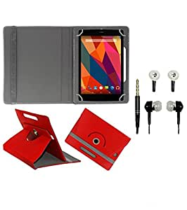 Gadget Decor (TM) PU Leather Rotating 360° Flip Case Cover With Stand For swipe junior tablet + Free Handsfree (Without Mic) - Red