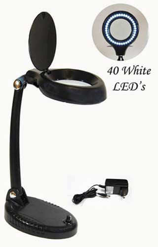 SE MC359BRC Rechargeable Reading Lamp with Magnifier, Black