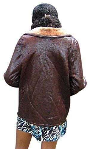 56797 New Glossy Brown Shearling Lamb Fur Jacket Coat M