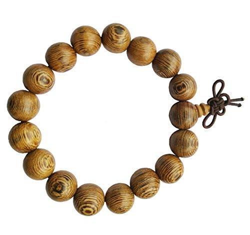 Tibetan Buddhist Green Sandalwood Beads Prayer Mala Wood Bracelet (17beads)