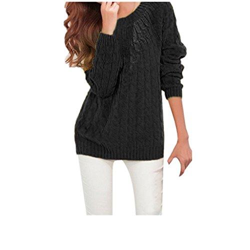 Koly _Manica lunga donne lavorato a maglia Pullover maglione (Nero)