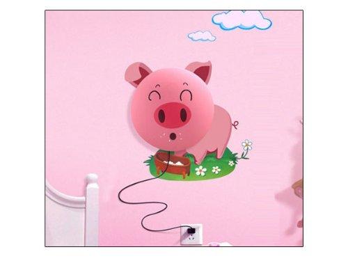 Gosear Cute Pig DIY Home Room Decor Wallpaper Wall Sticker Night Light Lamp