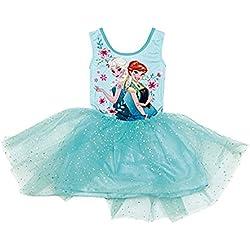 Frozen Disney - Abito Vestito con Top Elasticizzato e Gonna in Tulle Tutù - Elsa e Anna Prodotto Originale WD9812 [Azzurro - 8 anni - 128 cm]