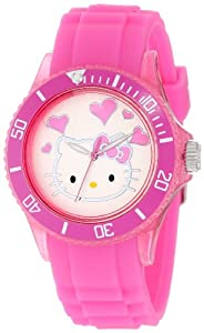 Hello Kitty Women's HWL1346PK Plastic Case Rubber Strap Heart Dial Pink Watch