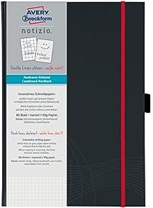 Avery Zweckform 7029 Hardcover Notizbuch notizio, gebunden, kariert, DIN A4, 90 g/m², 80 Blatt, dunkelgrau
