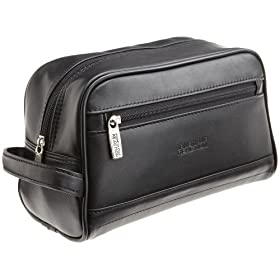 Kenneth Cole Reaction Men's Leather Zip Top Travel Kit