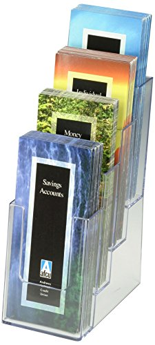 Displays2go Case of 8, Tiered 4 Pocket Brochure Dispenser for 4 x 9 Inches Pamphlets, Wall-Mounted or Tabletop, Clear Plastic (LD4T40DFL) (Pamphlet Dispenser compare prices)