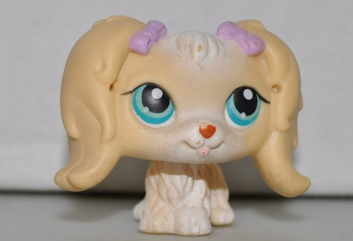 Maltese #175 (Cream, Purple Bows) Littlest Pet Shop (Retired) Collector Toy - LPS Collectible Replacement Single Figure - Loose (OOP Out of Package & Print) - 1