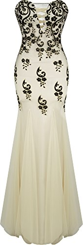 Angel-fashions Mermaid Abito a tubino con scollo a V Floral Sequin Corte dei treni delle donne Medium Cream
