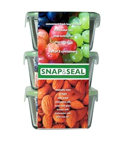 Snap & Seal Set of 3 Stacked Square Storage Containers