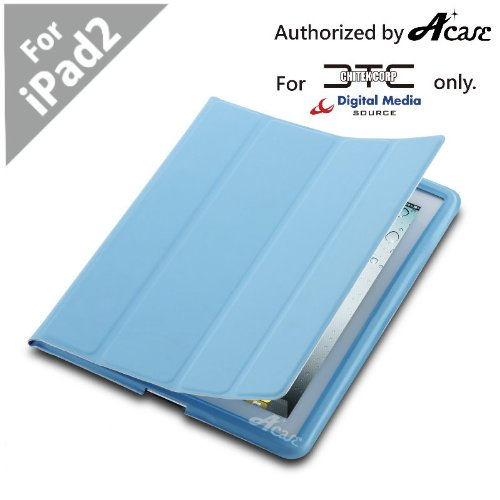 Acase(TM) EZ-Carry Polyurethane Case (ULTRA SLIM) Folio Stand for Apple iPad 2 2nd Generation WiFi / 3G Model 16GB, 32GB, 64GB NEWEST MODEL (Sky Blue)