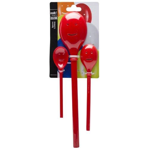 Zak Designs Happy Face 3-Piece Kitchen Spoon Set, Red