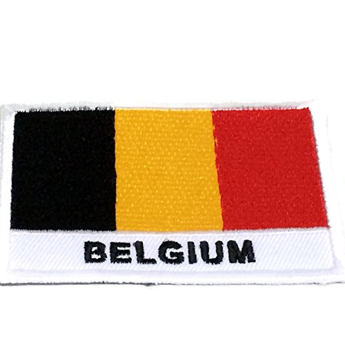 Nation Country Flags Patches Belgium Emblem Logo 2 x 2.8 Inches Sew On Embroidered Patch National Aussie Decorative Applique Embroidery Designs For t shirt Jersey Hoodie Hat Backpacks etc