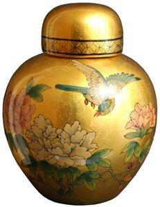 """Best Quality Gift Idea for Her - 13"""" Chinese Ceramic Porcelain Gold Leaf Spice Ginger Jar Urn"""