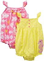 Carter's Baby Girls' 2 Pack Printed Rompers (Baby)