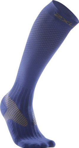 2XU 2XU Men's Elite Compression Performance Sock (Blue/Grey, Large)