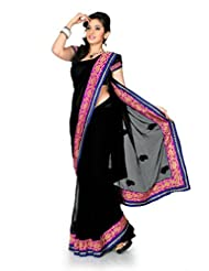 Designersareez Women Chiffon Embroidered Black Saree With Unstitched Blouse(1185)