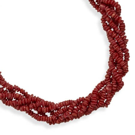 16 Inch+2 Inch Extension Multi Strand Coral Necklace