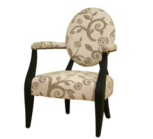 Upholstered Arms Accent Chair with Beige Flower Pattern