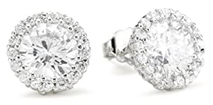 "CZ by Kenneth Jay Lane ""Traditional"" Round Cubic Zirconia with Pave Trim Stud 6 Cttw Earrings"
