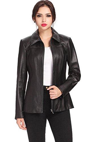 "BGSD Signature Women's ""Ellen"" Zip Front Lambskin Leather Jacket - Black M"