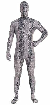 Forum Novelties Women's Disappearing Man Patterned Stretch Body Suit Costume Snake Skin, Grey, Medium/Large