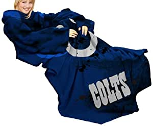 NFL Indianapolis Colts Comfy Throw Blanket with Sleeves, Smoke Design