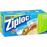 Ziploc Sandwich Bags, Bonus Pack 120 Count
