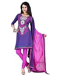 Vatsal Silk Mills Unstitched Dress Material for Women Violet