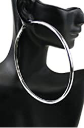 Large Silver Tone Thick Hoop Earrings