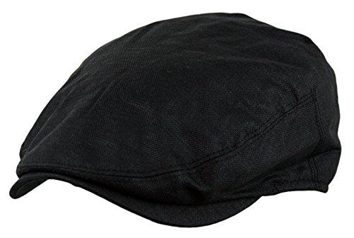 Men's Linen Gatsby Newsboy Golf Flat Ivy Hat (BLACK,LXL)