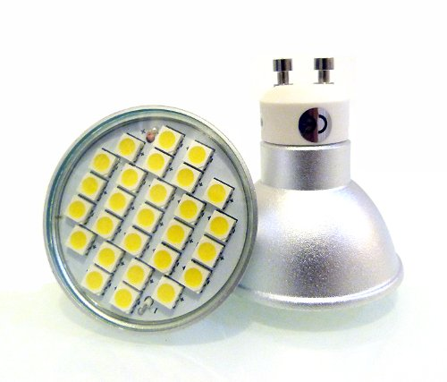 10 x GU10 LED BULBS 6W WITH 27 x 5050 SMD LED's IN WARM WHITE ** SUPER BRIGHT GU10 LED LIGHT BULBS - THE BRIGHTEST SMD BULBS AVAILABLE EMITTING 450 LUMENS - EXTREMELY BRIGHT AND IDEAL FOR REPLACING 50W - 60W HALOGEN BULBS