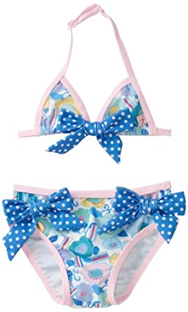 Floatimini Baby-girls Infant Flower Two Piece Bathing Suit, Sky Blue, 12-18 Months
