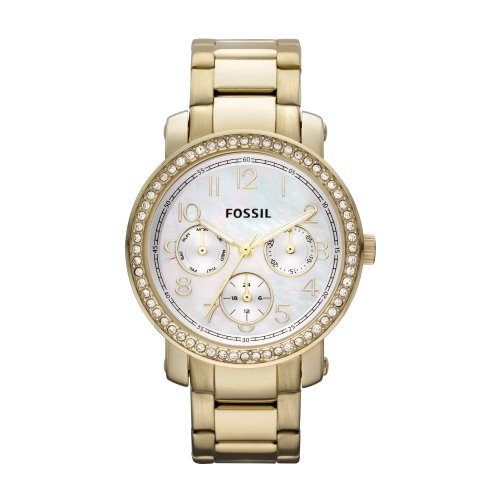 Fossil Ladies Boyfriend Watch Es2968 With White Mother Of Pearl Dial, Stone Encrusted Topring , Gold Ip Stainless Steel Case And Bracelet