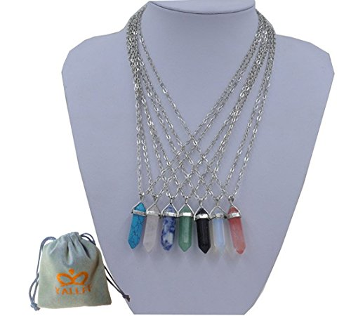 7 Pcs Unisex Artistic Fashion Jewelry Natural Stone Glass Rhombus Gemstone Pendant Necklace (Crystal Necklaces compare prices)