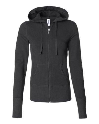 Bella Women's Stretch French Terry Lounge Jacket B7207, Medium, Black