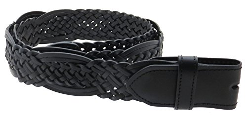 Braided Leather Belt Strap with Woven Pattern (Black-L)