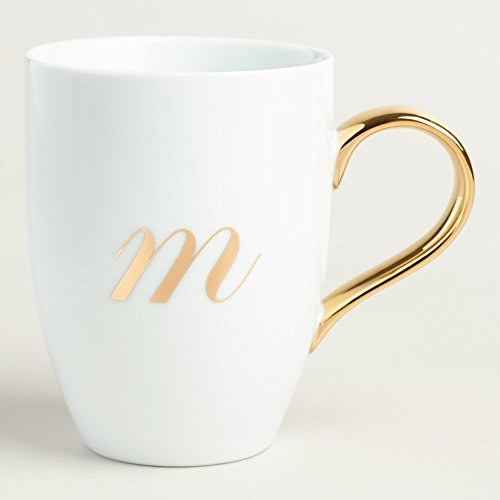 Gold Monogram White Porcelain Coffee Mug Tea Cup Letter M