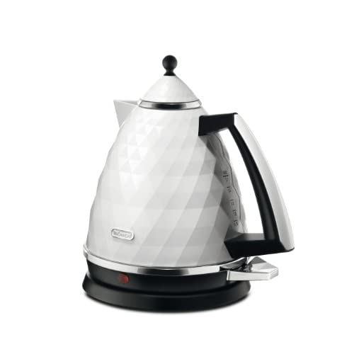 De'Longhi KBJ3001.W Brillante Faceted Jug Kettle, 3 Kilowatt - White