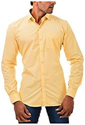 Casinova Men's Cotton Casual Shirt (2035_B-Small, Yellow, Small)