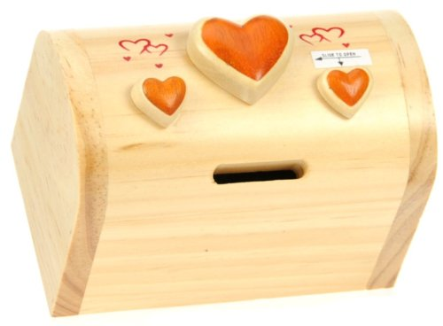 Heart : Money Box with Secret Lock : Handcrafted Wooden Treasure Chest : Top Gift Idea : High Quality Traditional Present For Boys, For Girls, For Him, For Her, For Children & For Fun Loving Adults! 30+ Designs (Size 12x9x7cm)