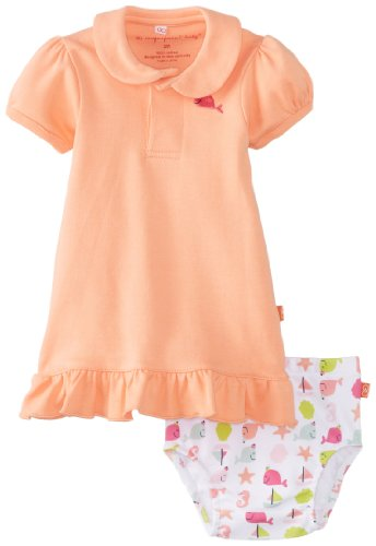 Magnificent Baby Girl'S Nantucket Dress With Diaper Cover, Melon, 9 Months