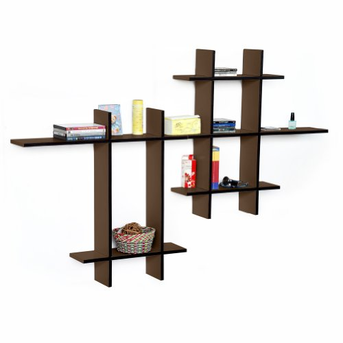 Trista - [Light Coffee-Mega] Leather Cross Type Shelf / Bookshelf / Floating Shelf (9 Pcs) front-749137