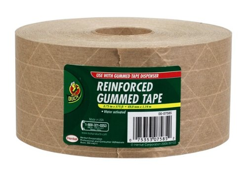 Duck Brand HD Reinforced Gummed Kraft Paper Tape, 2.75 Inches x 375 Feet (964913) (Paper Packaging Tape compare prices)