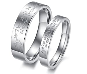 His & Hers Matching Set 5MM / 3MM Laser Engraved Titanium Couple Wedding Band Set (Available Sizes 5MM 7 to 10 & 3MM 5 to 8) Please e-mail sizes6MM